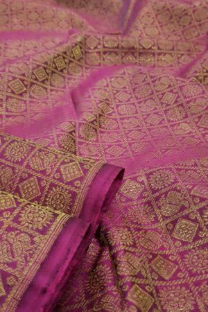 Green and dark pink half and half kanchipuram silk saree2