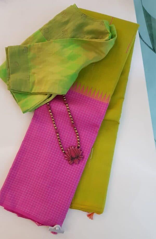 Green and pink one side border kanchipuram silk saree