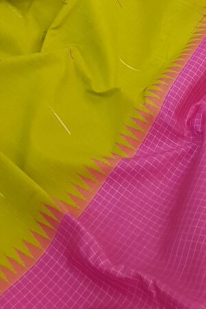 Green and pink one side border kanchipuram silk saree1