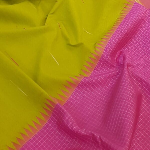 Green and pink one side border kanchipuram silk saree1