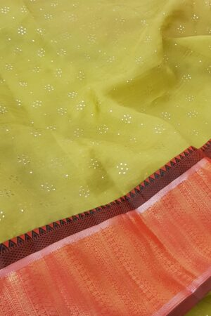 Green organza saree with kanchipuram silk border1