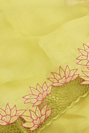 Green organza saree withvgrey tussar pallu and cutwork border3