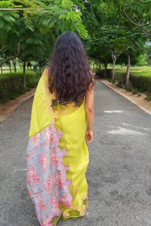 Green organza saree withvgrey tussar pallu and cutwork border5