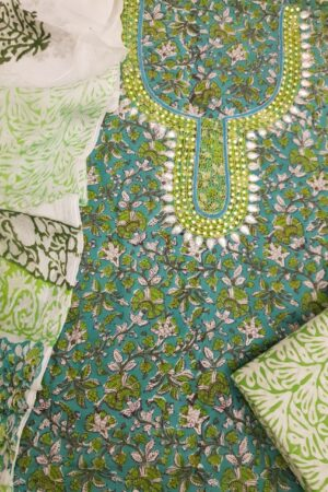 Green with neck embroidery