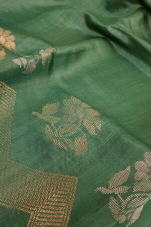 Green woven tussar saree3