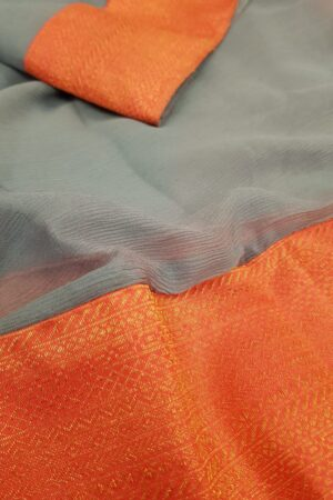 Grey chiffon saree with peach silk border4