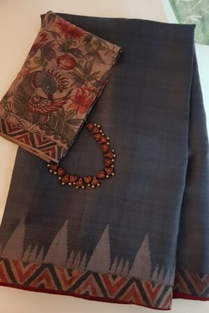 Grey temple border tussar saree1