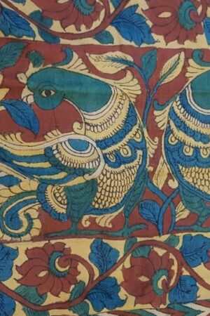 Hand painted kalamkari on tussar saree1