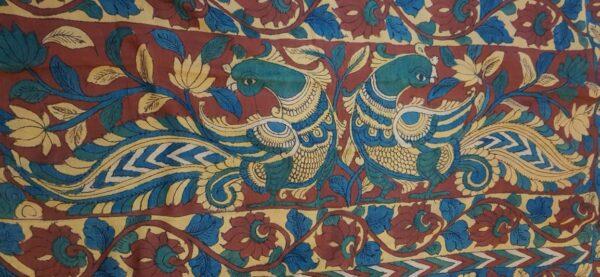 Hand painted kalamkari on tussar saree1