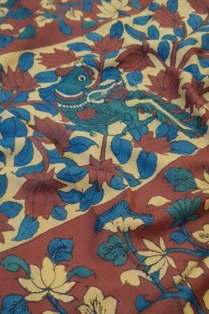 Hand painted kalamkari on tussar saree2