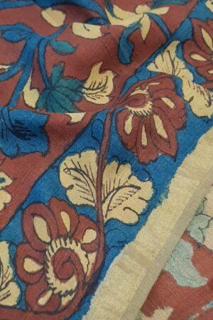 Hand painted kalamkari on tussar saree3