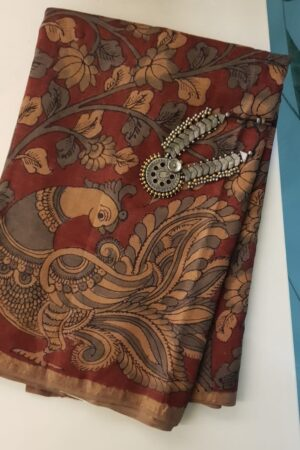 Hand painted kalamkari on zari border tussar saree
