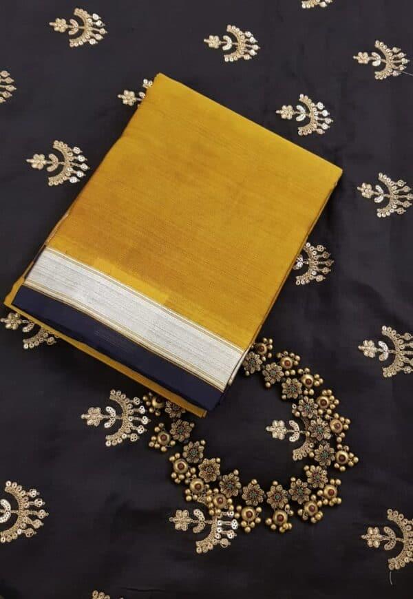 Honey mustard kora kanchipuram dupatta with silver zari border
