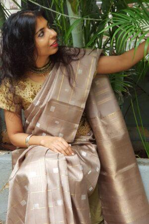 Iced mocha kanchipuram silk saree