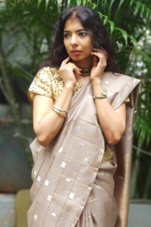 Iced mocha kanchipuram silk saree1