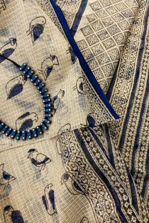 Indigo blue chidiya saree1