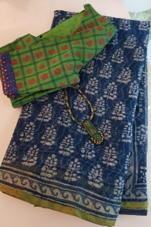 Indigo blue kota saree with green silk border