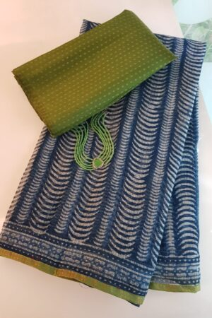 Indigo blue kota sari with green silk border