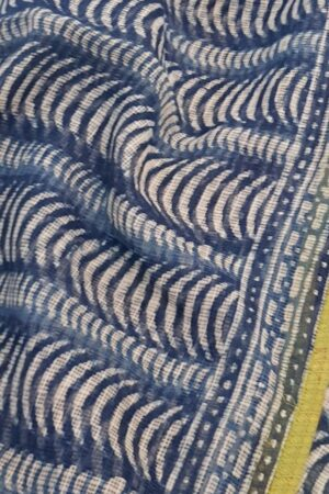 Indigo blue kota sari with green silk border2