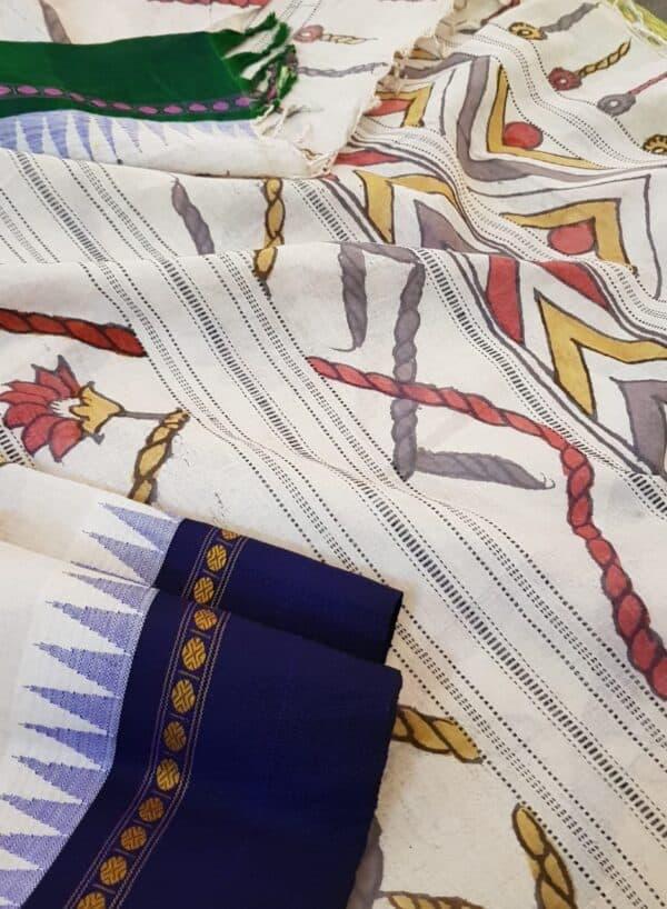 Kalamkari on blue and green border cotton with silk border3