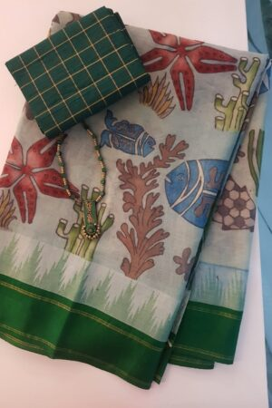 Kalamkari on green cotton with silk border