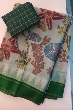 Kalamkari on green cotton with silk border