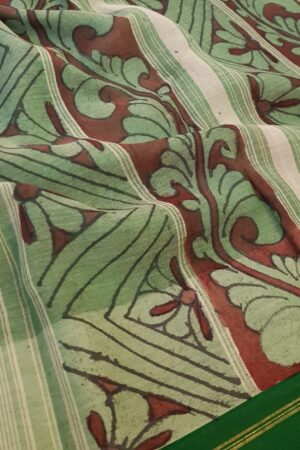 Kalamkari on green cotton with silk border1