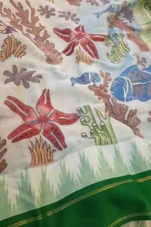 Kalamkari on green cotton with silk border2