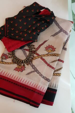 Kalamkari on red and black border cotton with silk borde saree
