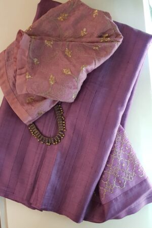 Lavender mist tussar saree with embroidered pallu