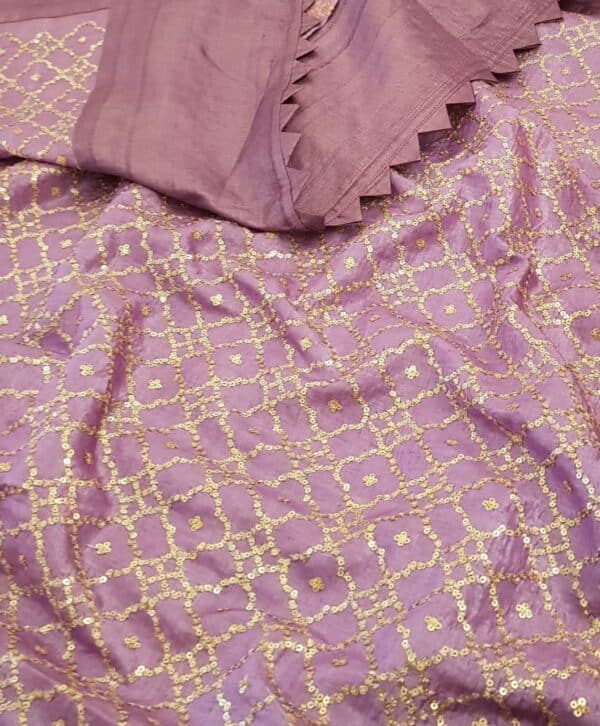 Lavender mist tussar saree with embroidered pallu1