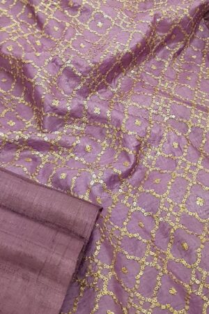 Lavender mist tussar saree with embroidered pallu2