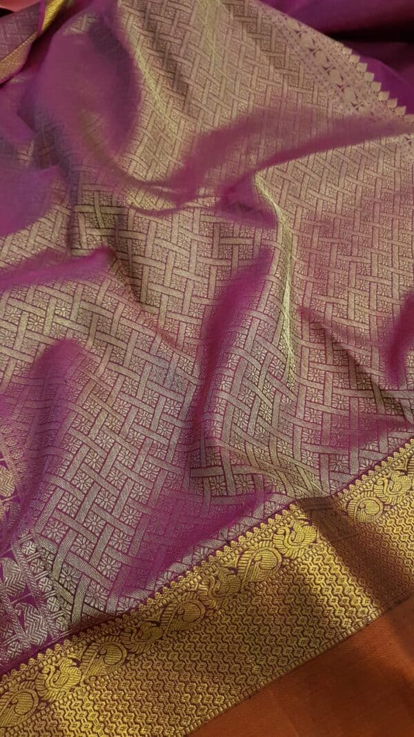 Light pink chiffon saree with rust border1