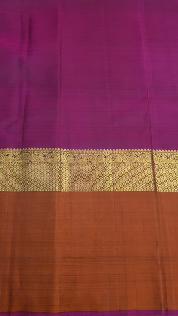 Light pink chiffon saree with rust border3