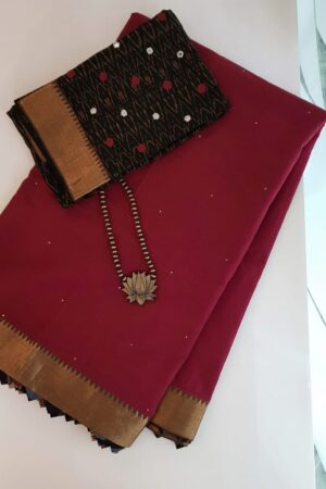 Maroon mangalgiri cotton saree with kalamkari samosa1