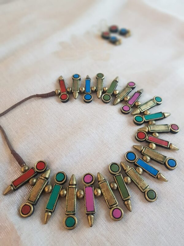 Multi colour terracotta necklace