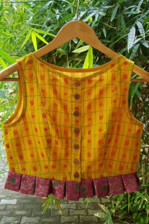 Mustard kanchi cotton sleeveless blouse1