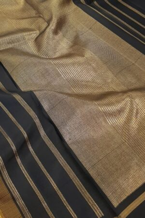 Mustard kanchi silk saree with black korvai border1