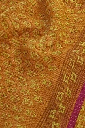 Mustard kota saree with pink border3