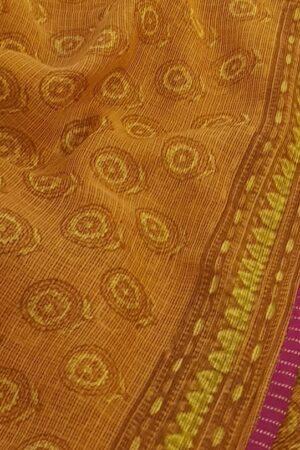 Mustard kota sari with pink silk border2