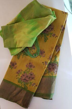 Mustard with green zari border tussar saree