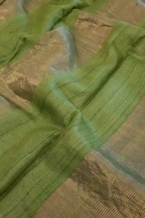 Mustard with green zari border tussar saree1