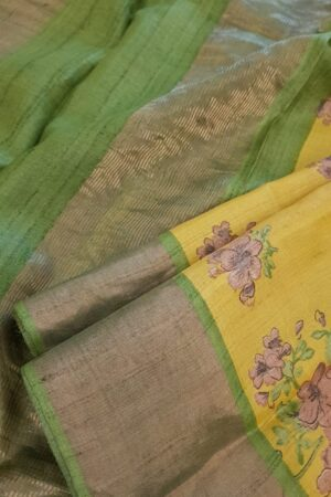 Mustard with green zari border tussar saree3