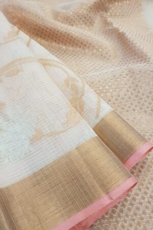 Off white zari kota saree with pink selvedge3