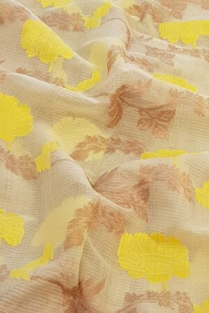 Off white zari kota saree with yellow flowers3