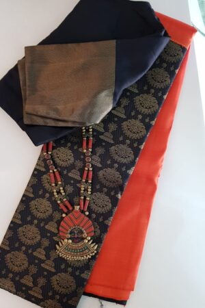 Orange and black half and half kanchipuram silk saree