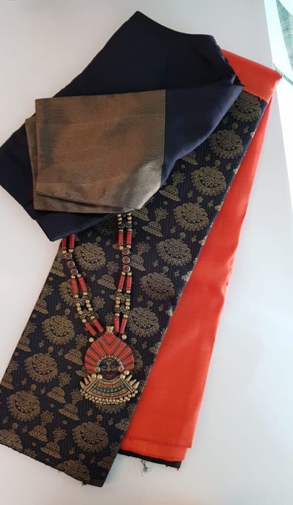 Orange and black half and half kanchipuram silk saree