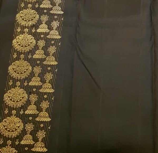Orange and black half and half kanchipuram silk saree2