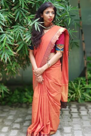 Orange mangalgiri cotton kalamkari saree
