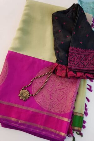 Pale green chiffon saree with pink and green silk border